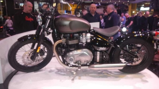 Triumph Bobber with the optional Ape bars