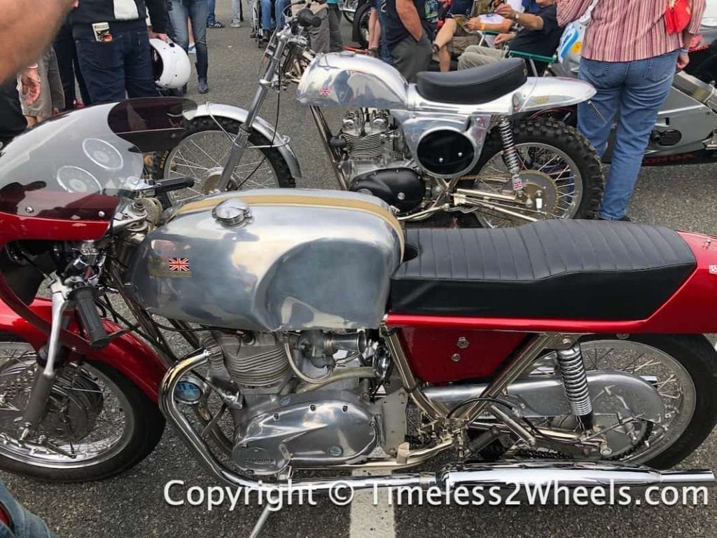 a pair of Metisse motorcycles at Jurby festival