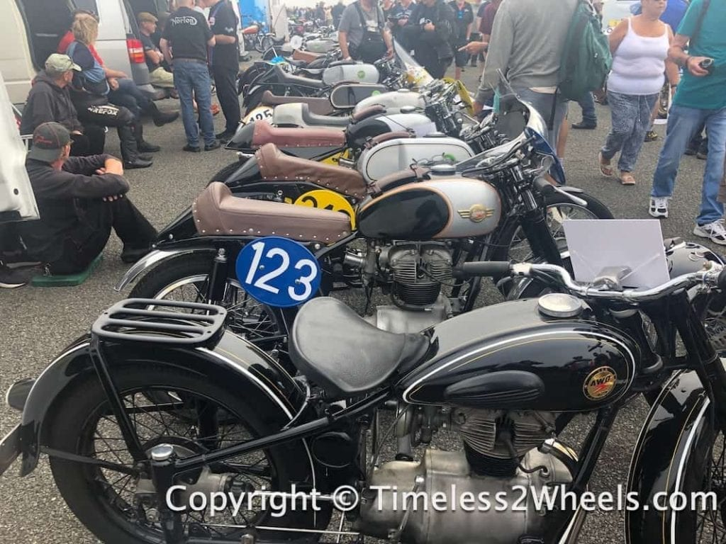 a collection of AWO Simson motorcycles at Jurby Festival