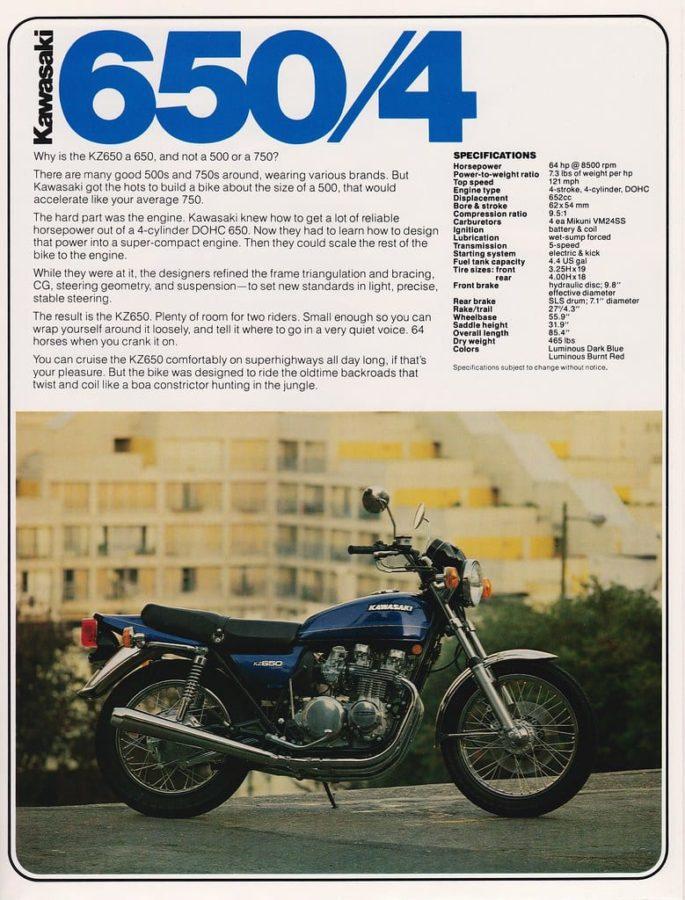 a Kawasaki KZ650 advert from 1976