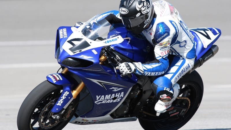 Josh Hayes of team Graves Yamaha on a YZF-R1 during the AMA Pro National Guard American SuperBike race at the Auto Club Speedway in Fontana, California